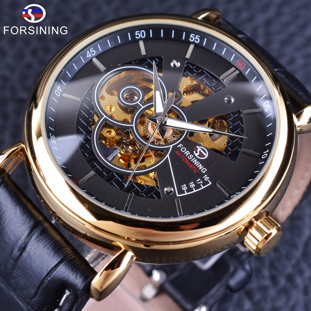 Forsining Transparent Case Self Wind Black Golden Men Taste Automatic Skeleton Watches Top Brand Luxury Casual Wear Genuine Belt forsining 3d skeleton twisting design golden movement inside transparent case mens watches top brand luxury automatic watches