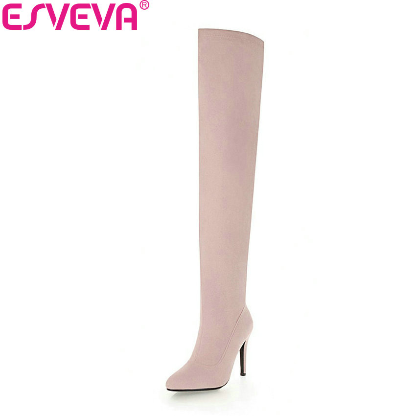 ESVEVA 2019 Women Boots Short Plush Pointed Toe Thin High Heels Shoes Woman Over The Knee Boots Zipper Winter Shoes Size 34-43 цена