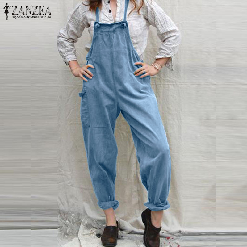 Women Casual Overalls ZANZEA Summer Straps Solid Rompers Harem Pants Robe Femme Pockets Suspenders Plus Size Jumpsuits Playsuits