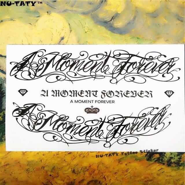 Nu-TATY Black Letter Tattoo Temporary Tattoo Body Art, 12x20cm Flash Tattoo Stickers, Waterproof Fake Tatoo Henna Tatto Sticker