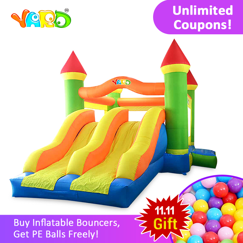 YARD Free PE Balls Inflatable Trampoline Castle Bouncer Double Slides Big Room Inflatable Castle Jumping House Kids Games free delivery inflatable castle inflatable slide inflatable games for indoor and outdoor color inflatable slides hx 178