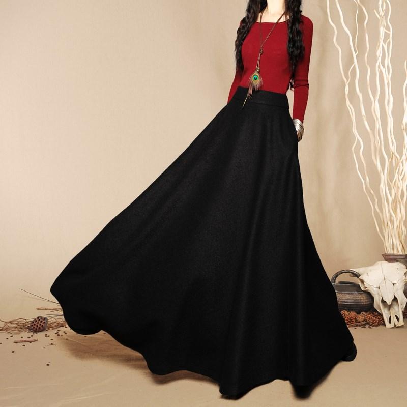 Aliexpress.com : Buy 2016 Fashion women wool long skirts High ...