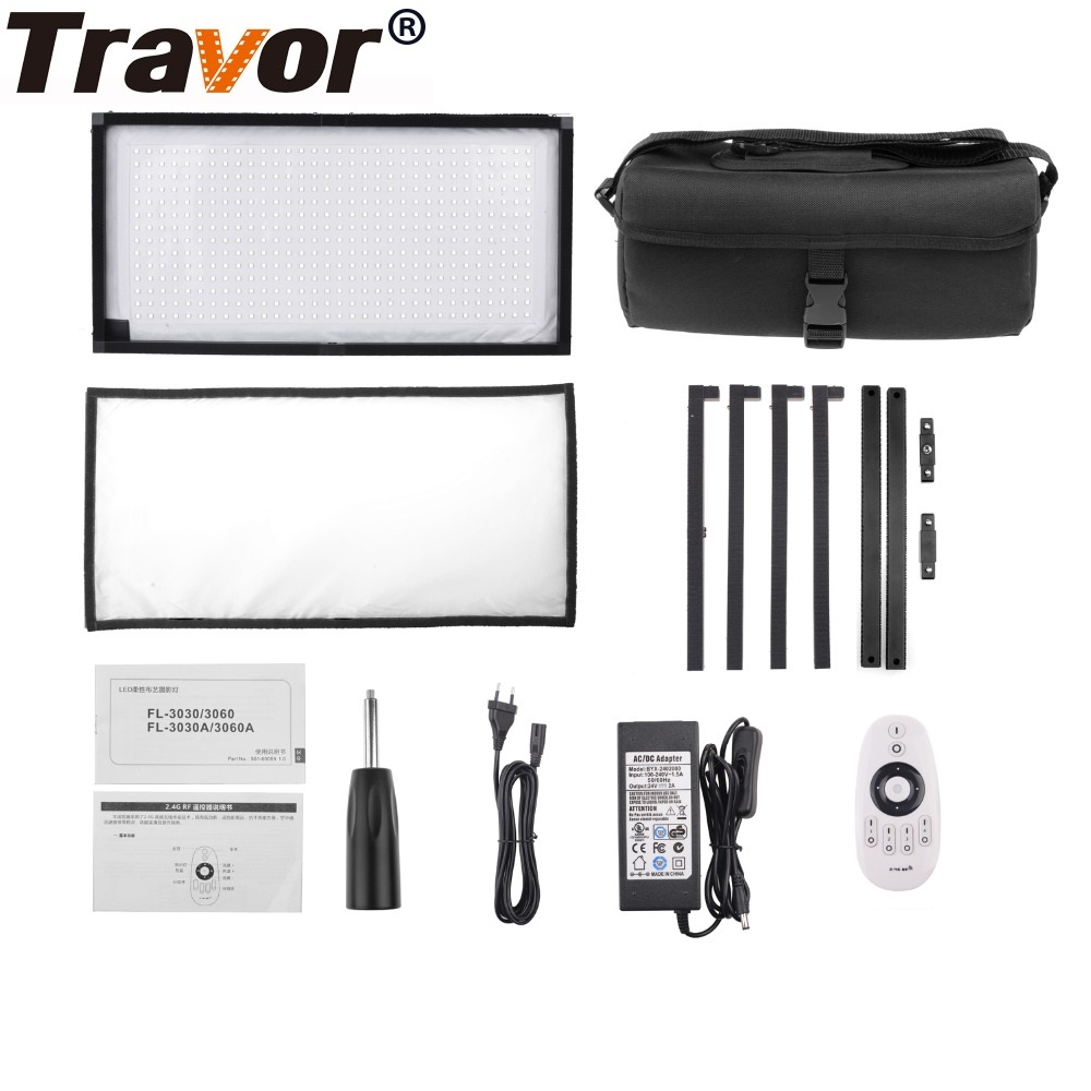 Travor Flex Led Panel FL-3060 30x60cm LED Video Fabric Light Flex 5600K 480LED Slim Ultralight Panel LED Video Photography Light