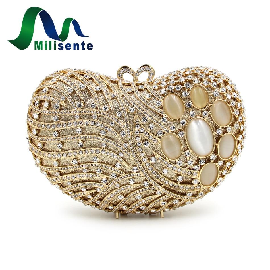 ФОТО Milisente Precious Stone Bags Evening Purse Women Party Handbags Gold Crystal Bag Luxury Wedding Clutch Lady Small Day Clutches