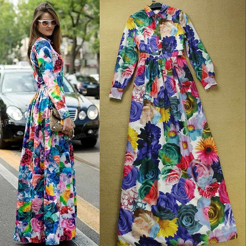 Boutique New Fashion Designer Long Dress Women S Colourful Fl Print Elegant Mopping Floor Maxi Party Full In Dresses From