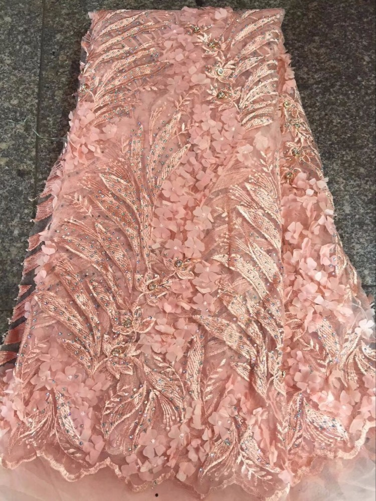 Latest African Lace Material With 3d Flower 5yard Nigerian Lace Fabrics with Stones For Sewing 2017