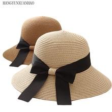 HANGYUNXUANHAO New Product Fashion Sun Hat Womens Summer Bow Straw Hats for Women Beach Headwear Chapeau Femme Hepburn