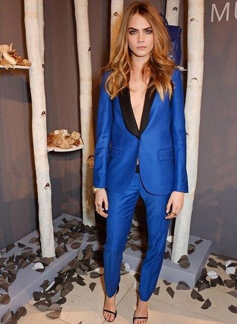 4c52e9d8d1 Custom Made 2 Peça Azul Royal Calças Mulheres Terno Blazer com Preto Lapela  Único Botão De Negócios Senhoras Roupa de Festa À Noite W201