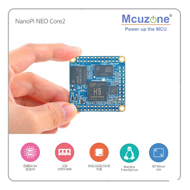 NanoPi NEO Core2 512MB DDR3 RAM Allwinner H5, Quad-core 64-bit Cortex A53 8GB EMMC U-boot,Ubuntu Core FriendlyELEC