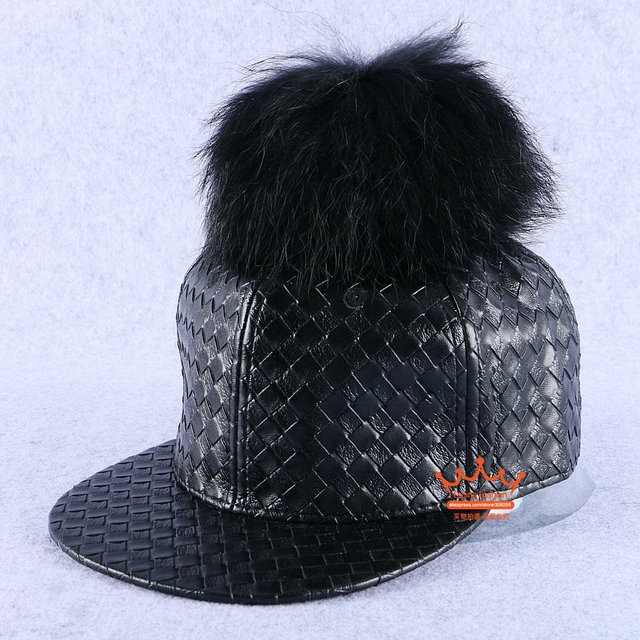 new fashion women brand winter hat outdoor thermal leather black raccoon pompom girl luxury snapback woman beauty baseball cap