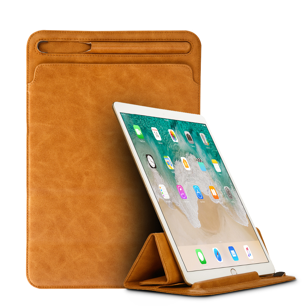 Luxury Leather Sleeve Case for iPad Pro 10.5 2017 Pouch Bag Folding Cover with Pencil Slot Holder for iPad Pro 9.7 inch Case New for ipad pro 12 9 inch case sleeve esr protective carrying bag with back pocket pencil holder pouch for ipad pro 12 9 2015 2017