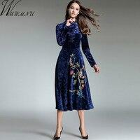 Wmwmnu Fashion Embroidery Velvet Dresses Ukraine Women Vintage Warm Autumn Winter 2017 Long Dress Female Elegant