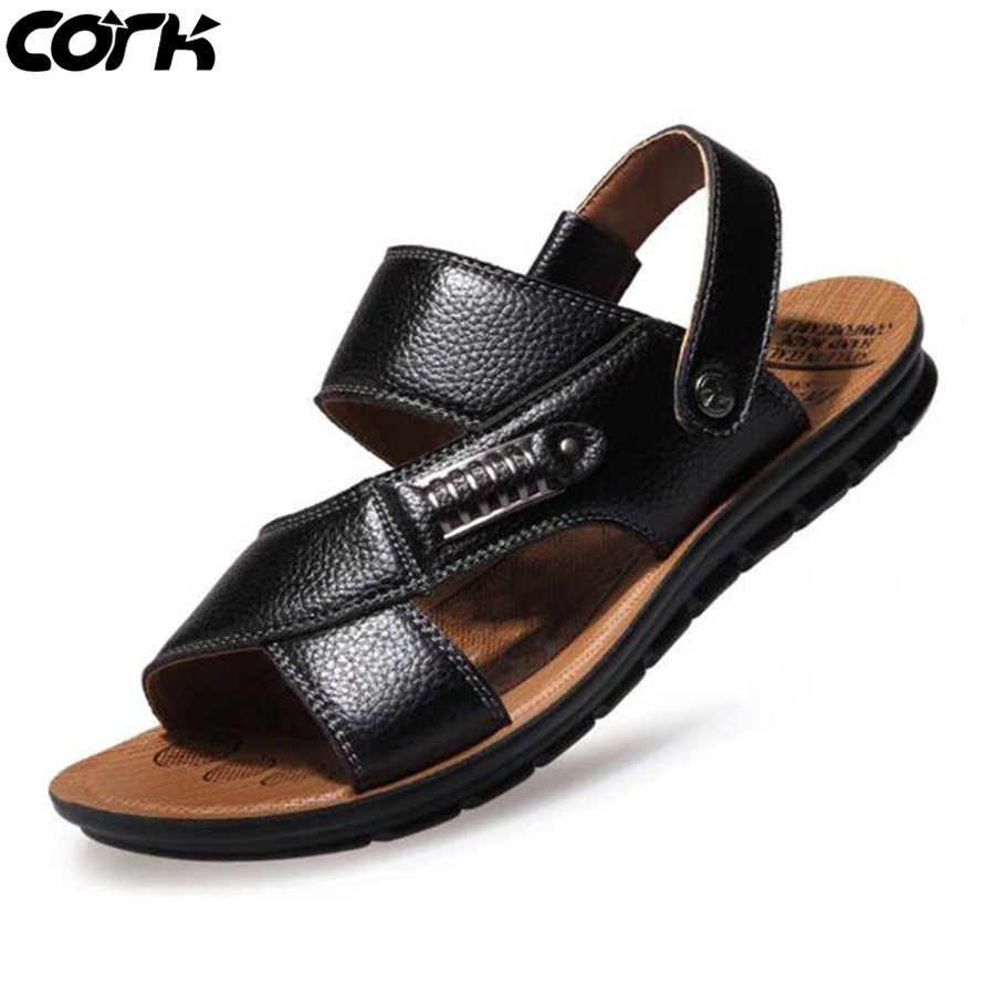 Men Sandals Summer Beach Slippers Genuine Leather Roman Sandals Male Casual Shoes Beach Flip Flops Men(China)