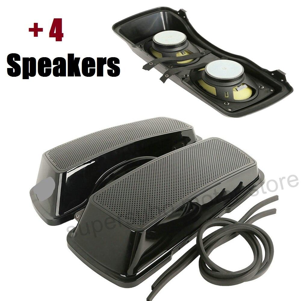 6x9 Saddlebag 4 Speaker Lids cover For Harley Touring electra Road King Street Glide 1994-2013