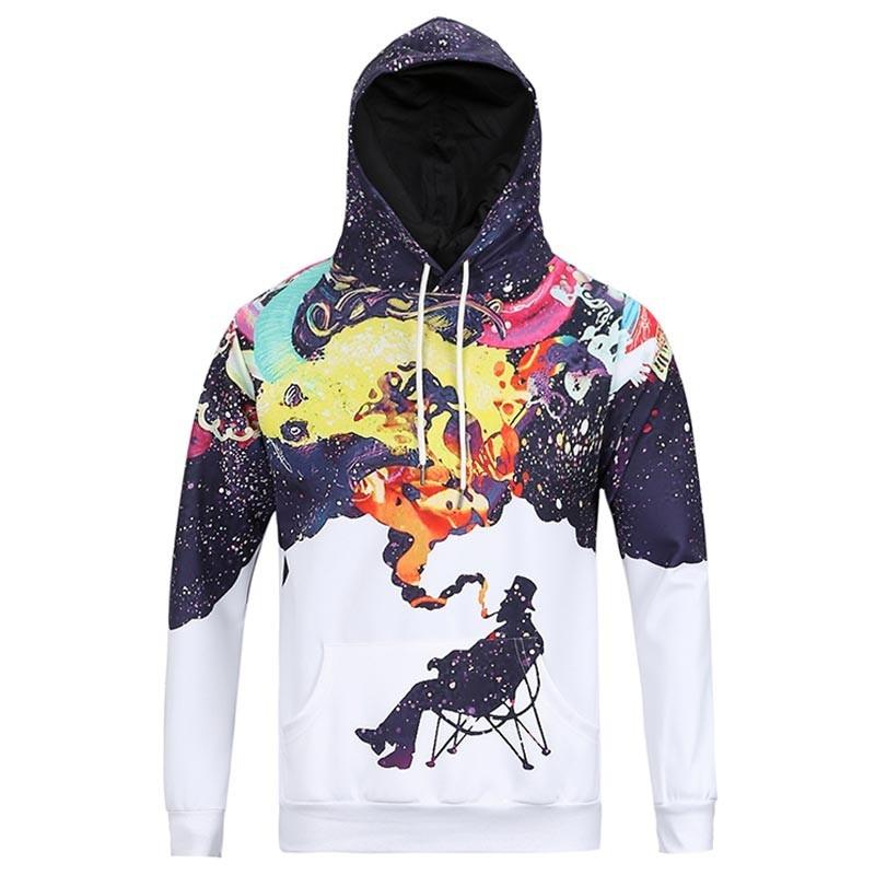 2018 New pattern a wise man sweatshirt hoodies print man smoking in 3-d thin hoodies sweat top unisex The largest size 3 xl