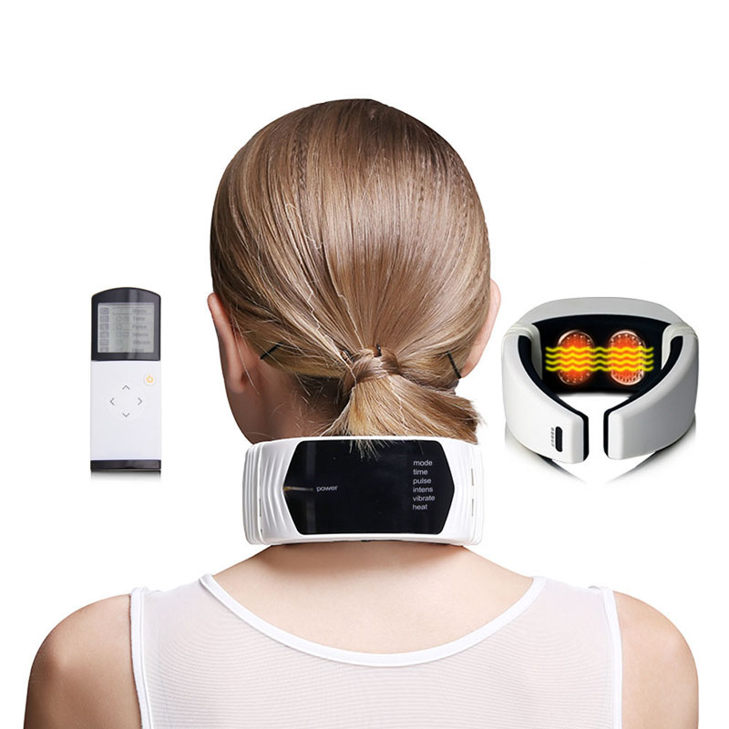 Remote Control Wireless Neck Massager Far Infrared Heat Therapy For Neck Massage Neck Pillow Pain Relief Machine Health Care far infrared heat foot massager vibrating massage blood circulation pain relief