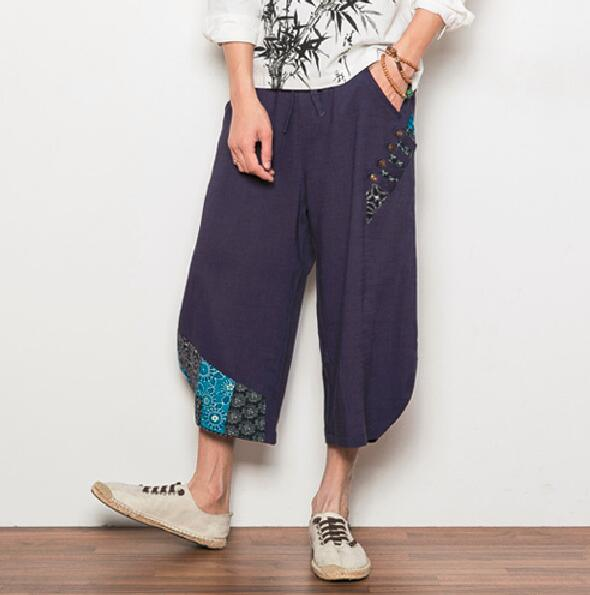 M-5XL!!!Summer male chinese style casual pants men's clothing  linen ankle length  loose harem pants