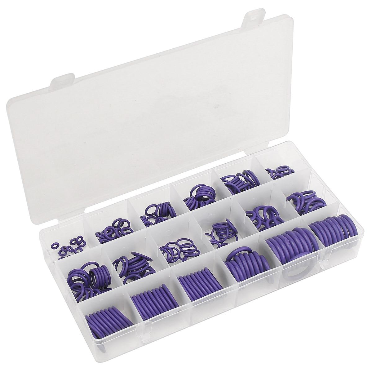 R22 R134a225Pcs O Ring <font><b>Gaskets</b></font> Car A/C <font><b>System</b></font> <font><b>Air</b></font> <font><b>Conditioning</b></font> O Ring <font><b>Seals</b></font> Washer <font><b>Kit</b></font> Tool HNBR Rubber Purple Standard Parts