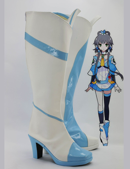 Custom Made Japanese Anime Vocaloid 3 CHINA PROJECT Luo Tianyi High Heel Cosplay  Shoes Boots For