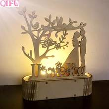 QIFU MR MRS Wedding Wooden Decoration With LED Light Rustic Wedding Decoration Wedding Table Event Party Decor Weeding Supplies(China)