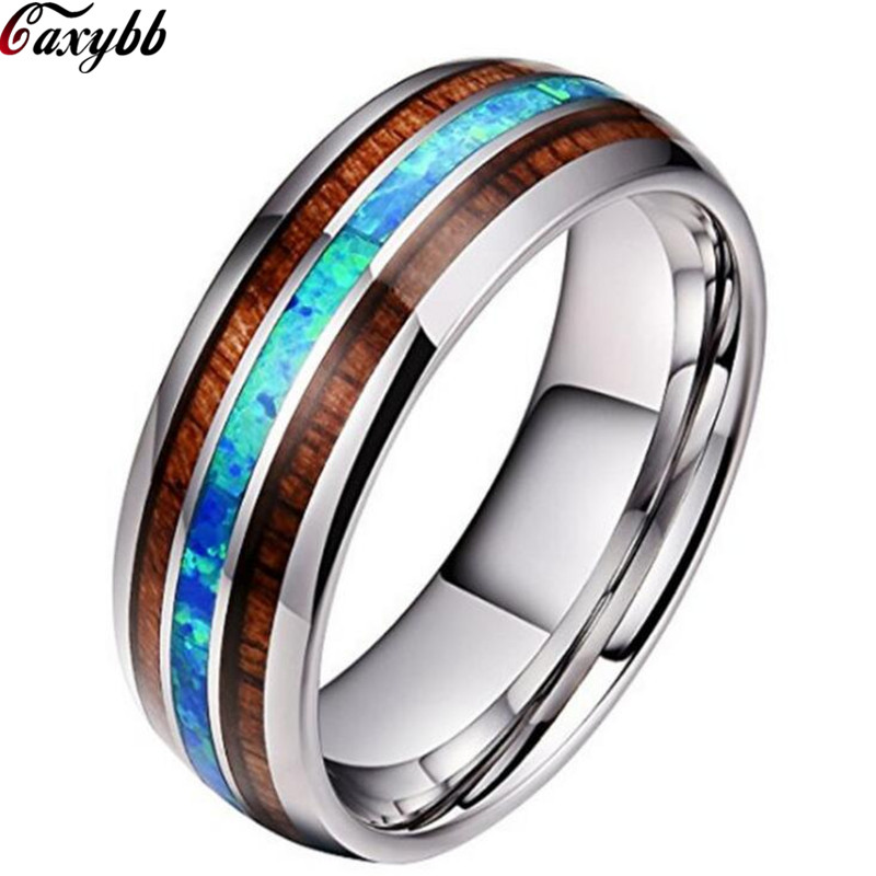 Titanium Ring for Men 8mm Groove Hawaiian Wood and Abalone Shell Tungsten Carbide Engagement Wedding Rings Size 6-13(China)