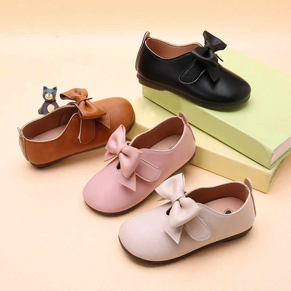 Children Kid Baby Girls Solid Bowknot Student Single Soft Dance Princess Shoes