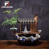 110 В 220 В китайский Стиль Zen течет фонтан настольные украшения фэн шуй Лаки Бизнес подарок офис Гостиная украшения