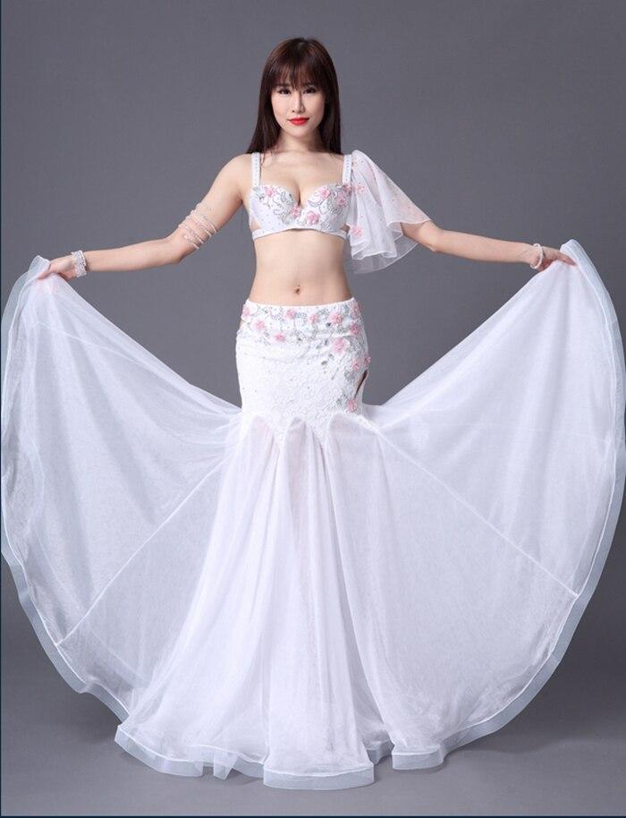 Girls luxury dance clothing satin bra skirt 2pcs belly dance set women  belly dance set dancers Performance suit ... 7459aea11831