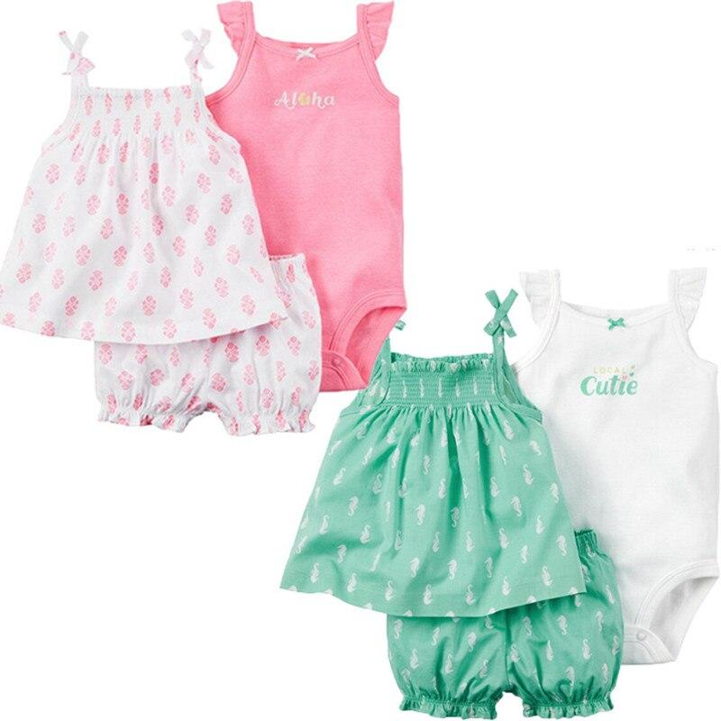 Summer girls cotton bodysuit +vest +shorts set newborn printed jumpers top quality children climbing age for 6-24M 17S907