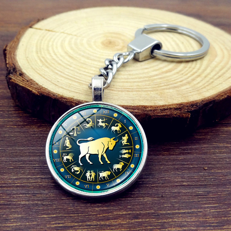 12 Constellations Metal Keychain Zodiac Glass Round Dome Key Chain Pendant Classic Jewelry Silver Key Ring Gifts for Men Women