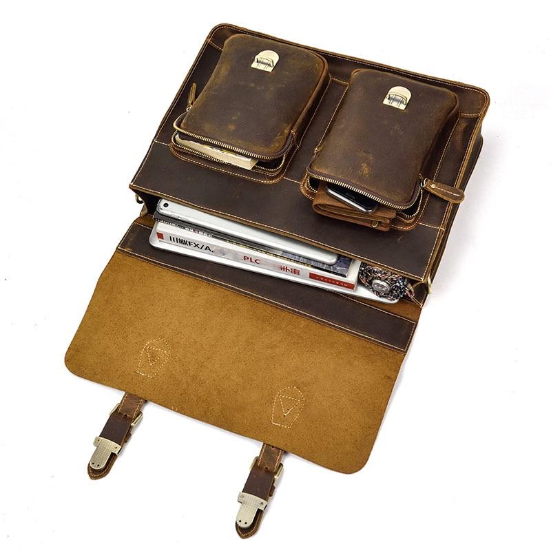 """ผู้ชายหนังแท้กระเป๋าเอกสารขนาดใหญ่ 16 """"แล็ปท็อปหนา Cowhide ธุรกิจกระเป๋า Cow หนัง messenger ไหล่กระเป๋า Lady work tote สีแดง-ใน กระเป๋าเอกสาร จาก สัมภาระและกระเป๋า บน   3"""