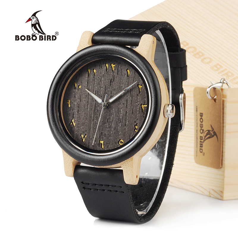 BOBO BIRD EN16 Unisex Ebony And Bamboo Wood Quartz Analog Watch Dial 40mm With Real Leather Watch Bands bobo bird brand new sun glasses men square wood oversized zebra wood sunglasses women with wooden box oculos 2017