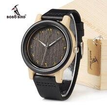 BOBO de AVES EN16 Ébano Y Madera De Bambú Unisex Reloj de Cuarzo Analógico Dial 40mm Con Correas de Reloj de Cuero Real