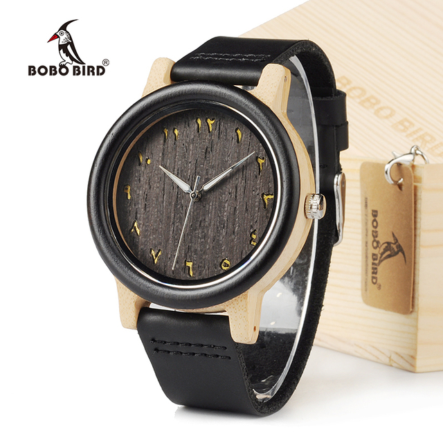 BOBO BIRD EN16 Unisex Ebony And Bamboo Wood Quartz Analog Watch Dial 40mm With R