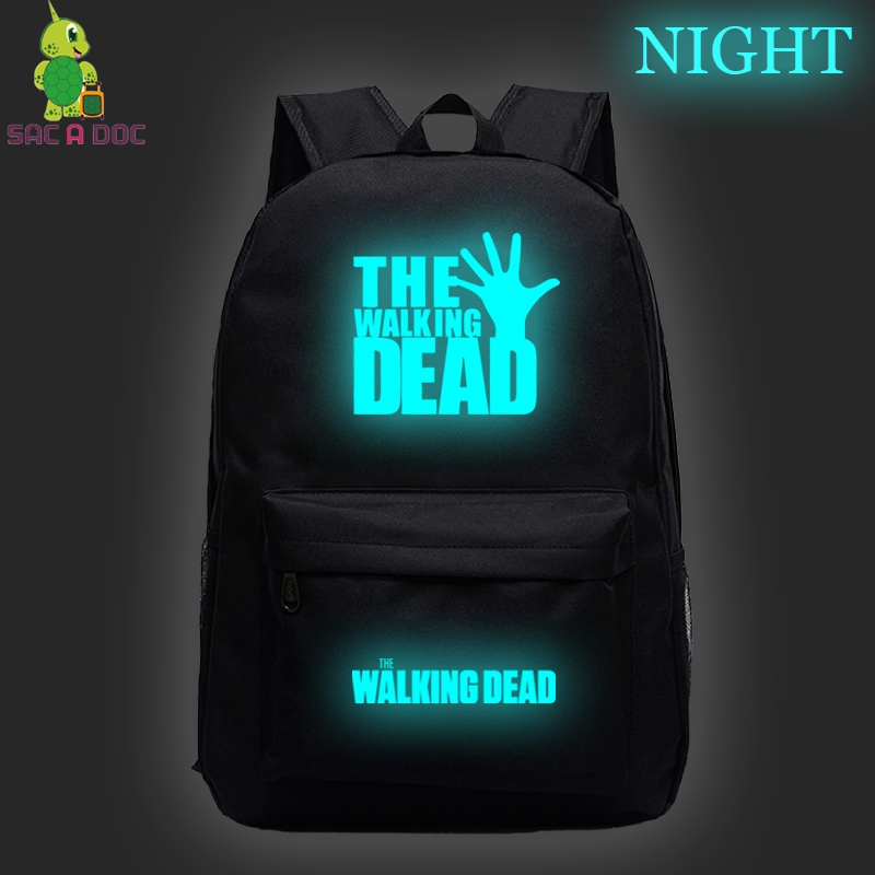 Dropshipping Teenager School Bags Night Luminous Backpack Walking Dead Laptop Bags Unisex Galaxy Bagpack Custom Add Game Logo