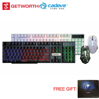 GETWORTH Cool Wired Keyboard CADEVE Backlight And Mouse Combo Adjustable High DPI Mechanical Feeling No Piano Keyboard 9122