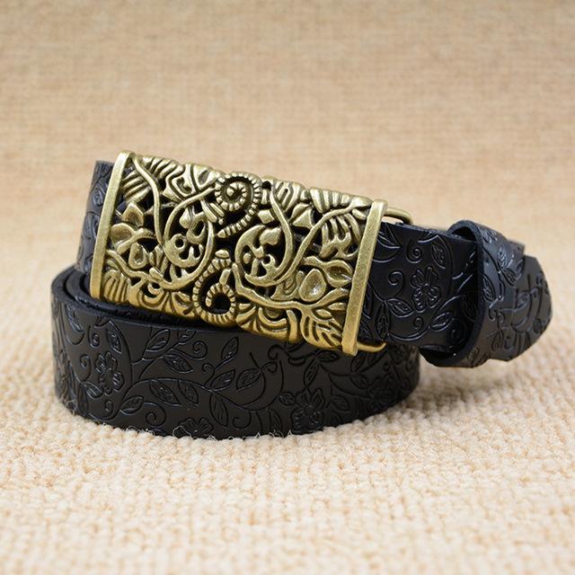 Mujeres retro correa de cuero genuino cinturón negro de la vendimia femenina aguja t-riemen kemer señoras de lujo de alta calidad