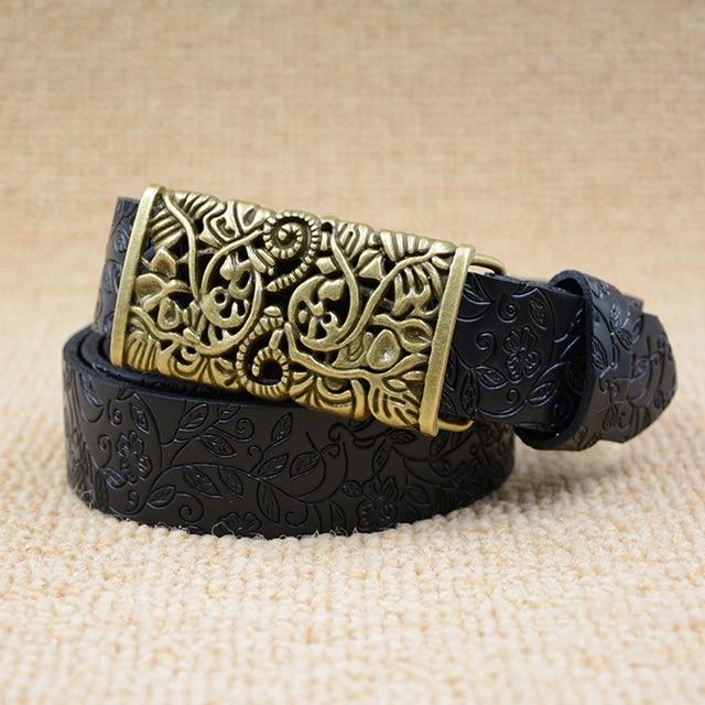 women retro black belt female vintage strap genuine leather riemen ladies luxury kemer high quality