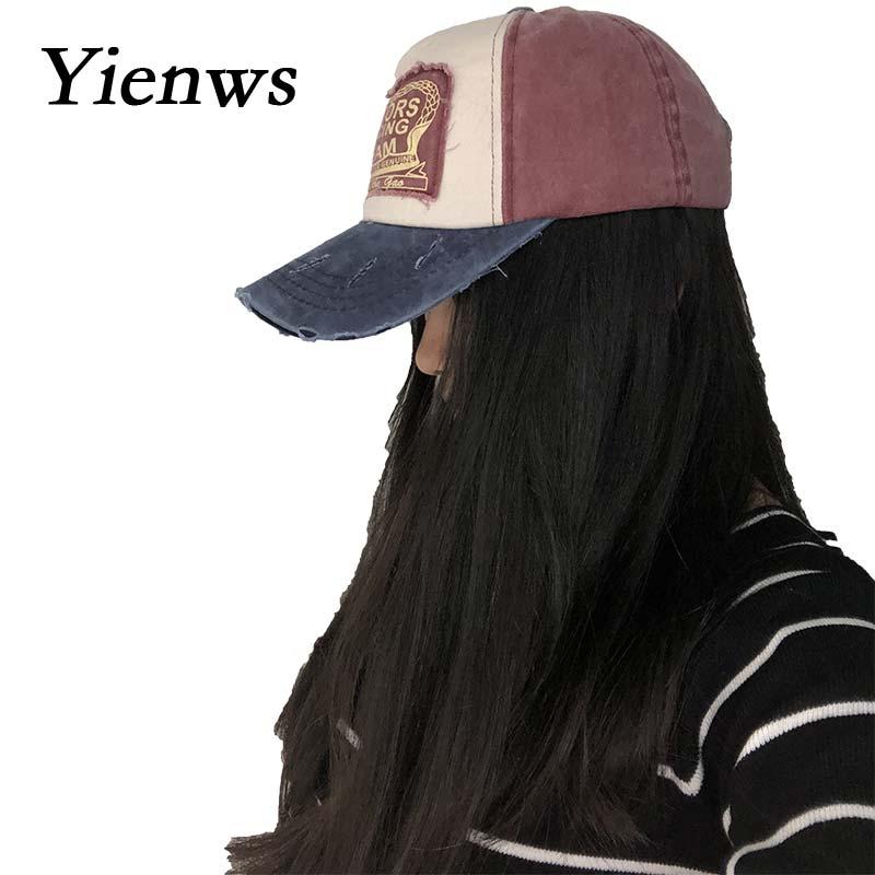 Yienws Vintage Jeans Kişilər üçün Əyri Qollu Brim Trucker - Geyim aksesuarları - Fotoqrafiya 2