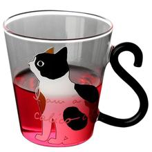 8.5oz Cute Cat Shape Printing Cup Glass Water Cup Printed Cat Heat-Resistant Milk Glass Cup Juice Glass Insulated Glass Mug stylish 300ml cartoon shaun the sheep shape silicone cup set glass water cup