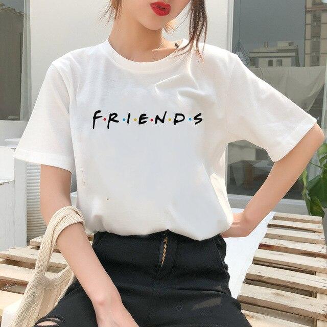 2019 Verão Estética Retro Roupas Femininas Tops Harajuku Casual AMIGOS Novo O Pescoço Solto Camiseta Chemise Femme