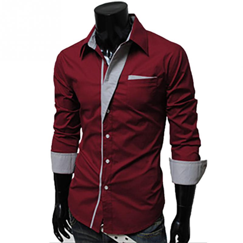 2017 New Dress Long Sleeve Shirt Men 8cc79bab041