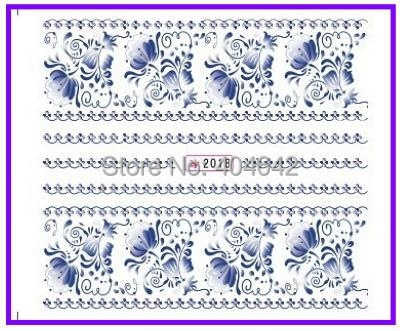 1X nail sticker blauw & wit water transfers stickers nail decals stickers water decal opp koker verpakking SY2018