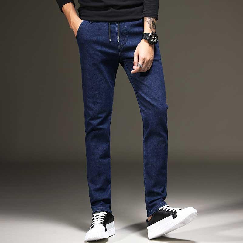 High Quality Mens Indigo Stretch Jeans Slim Zipper Fly with Drawstring Waist Cowboy Denim Pants Fashion Solid