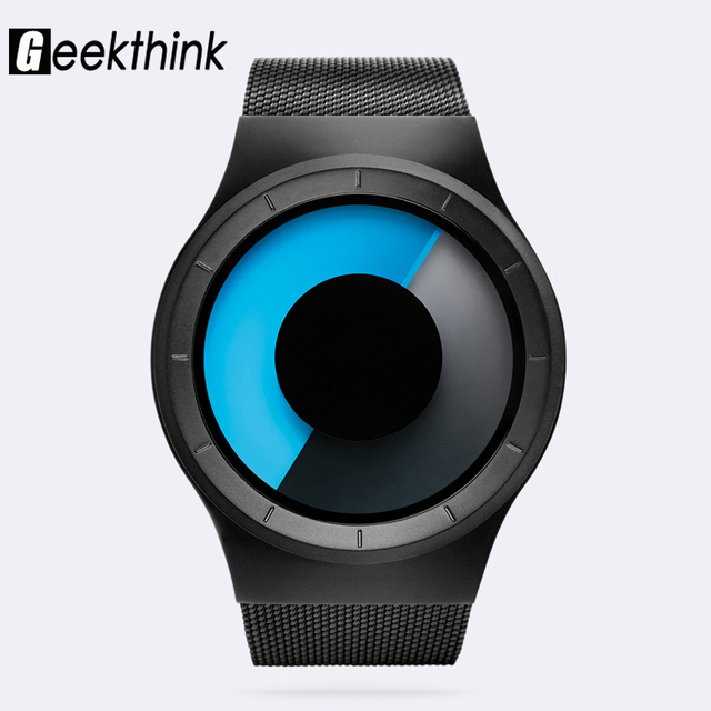 GEEKTHINK Quartz Watches Men Top Luxury Brand Casual Stainless steel Mesh Band Unisex Watch Clock Male female Gentleman gift