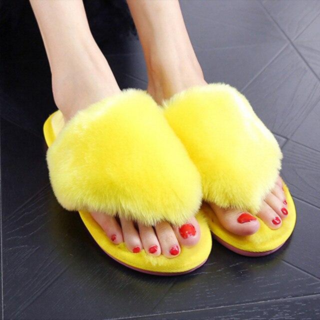 Женщины Зимняя Обувь Тапочки Теплые Шлепанцы Меховые гетры Шерсть Квартиры Плюшевые Дом Обуви Мода Бытовые Обувь Плюс Размер