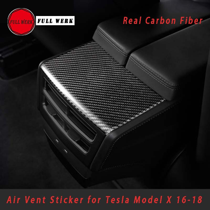 Real Carbon Fiber Car Styling Interior Mouldings Decoration Cover Trim Sticker for Tesla Model S X 2016 2017 2018 Accessories car 3d pvc carbon fiber decoration sticker deep golden 30 x 127cm