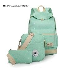 2017 Новый Для женщин рюкзак школьный комплект Сумки для подростков Обувь для девочек рюкзак Рюкзаки 3 компл. Mochila печать BookBag милый холст