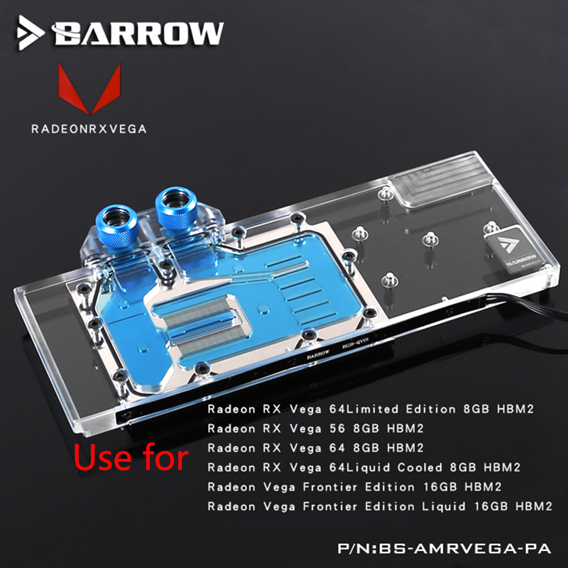BARROW Full Cover Graphics Card Block use for AMD Radeon RX VEGA Public Version GPU Radiator Block  with LRC RGB BS-AMRVEGA-PA bykski public version full cover graphics card water cooling block use for rx480 ati cooler with rgb light gpu radiator block