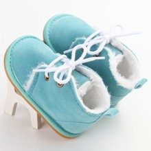 2017 Newborn Boys Girls Lace-up Shoes Frist Walkers Infant Autumn Warm